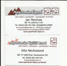 Apartment Lipno - Apartment Vyšší Brod visiting card.
